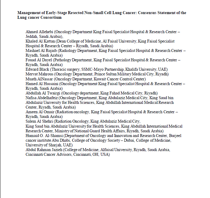 Management of Early-Stage Resected Non-Small Cell Lung Cancer: Consensus Statement of the Lung cancer Consortium